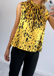 Ellis Leopard Print Blouse - Yellow