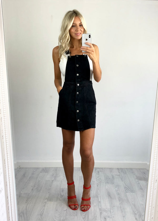 Tamala Denim Pinafore Dress - Black Wash