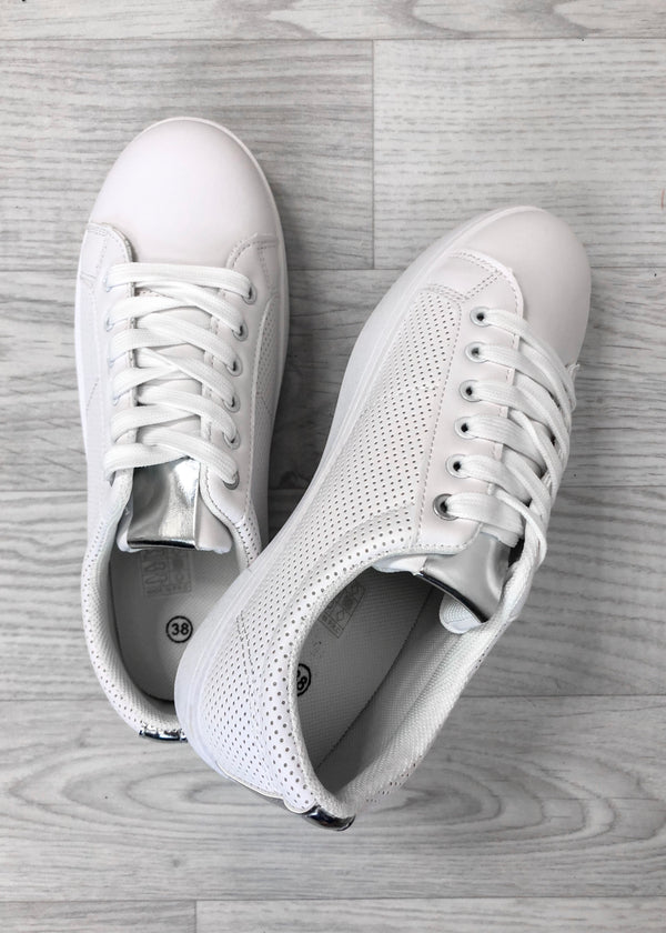 Dove White Trainers - Silver