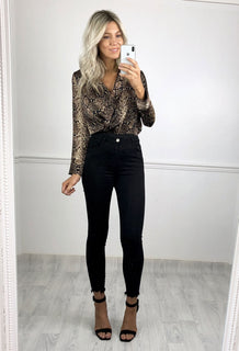 Kira Snake Print Bodysuit - Brown