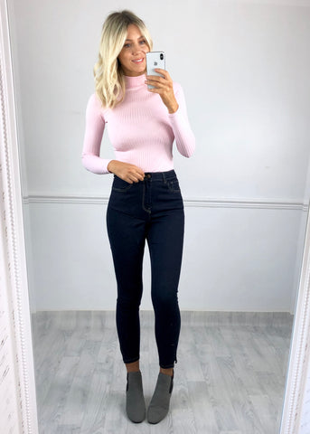 Leah Ribbed High Neck Top - Pink