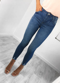 Holly Frayed Hem Jeans - Blue