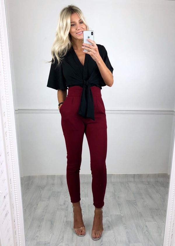 Jenna High-Waist Detail Trousers - Burgundy