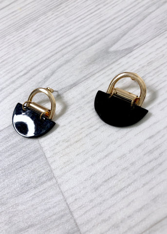 Black & Gold Half Circle Earrings