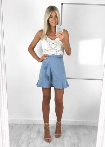 Zoe Frill Denim Skirt