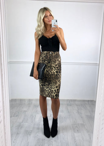 Ivy Leopard Pencil Skirt