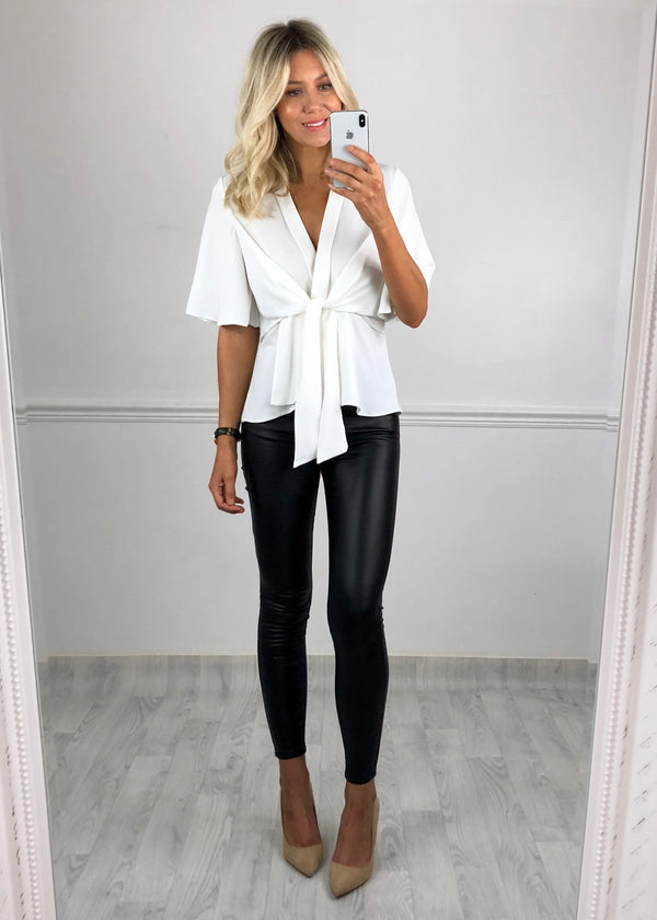 Hannah Flared Sleeve Top - White