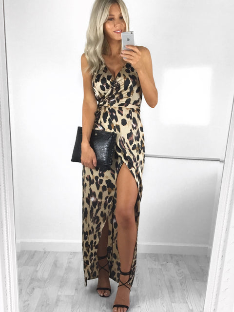 Willow Leopard Print Wrap Dress