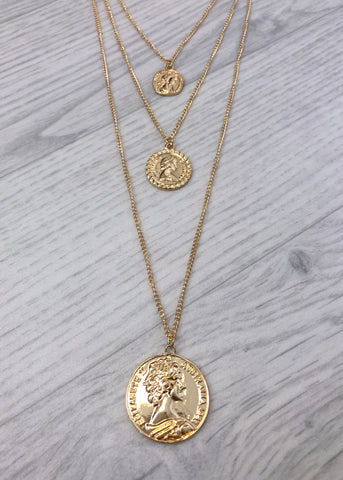 Coin Layered Necklace - Gold