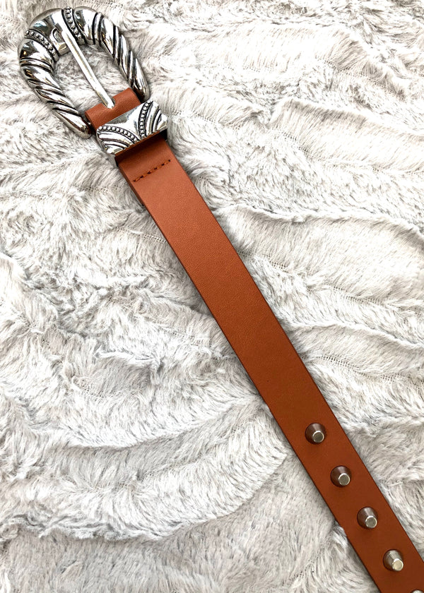 Capella Studded Tan Belt with Western Buckle
