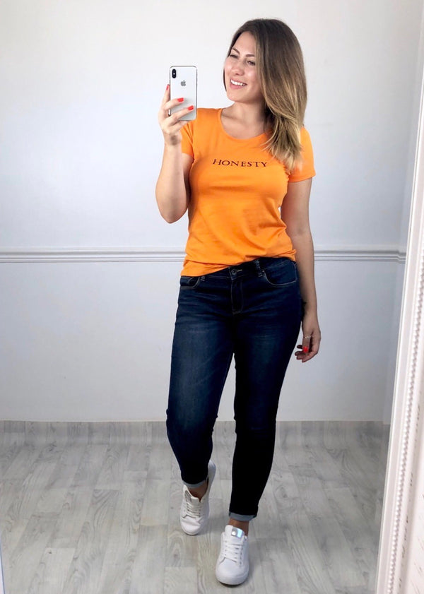 Honesty Slogan T-shirt - Orange