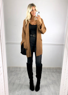 Nadine Roll Sleeve Cardigan - Tan