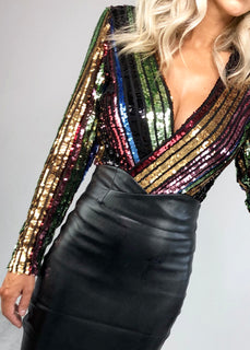Candice Rainbow Sequin Bodysuit