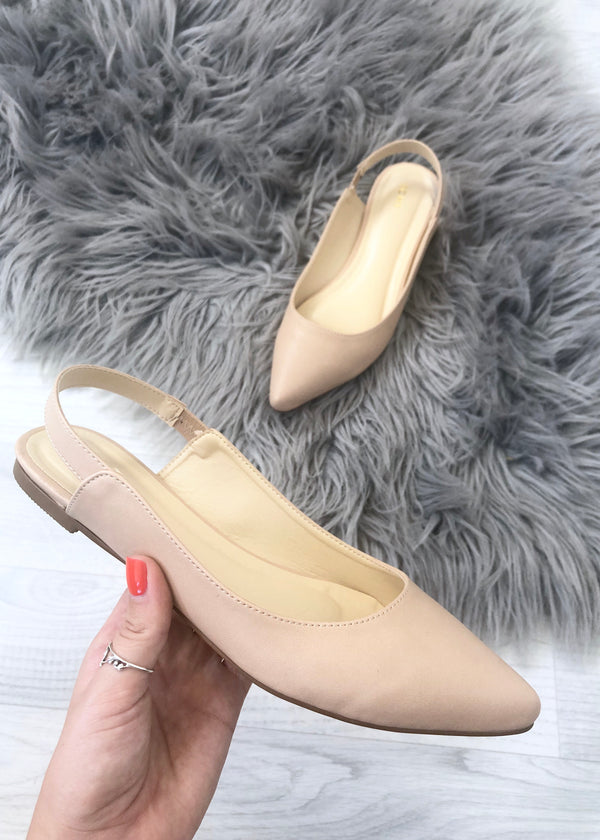 Merci Pointed Flat Shoes - Nude