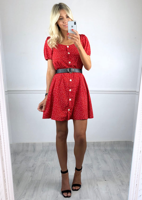 Clara Red Polka Dot Heart dress