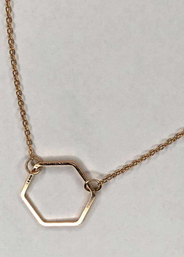 Gold Hexagon Choker Necklace
