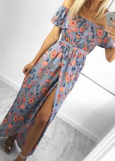 Suzie Ruffle Bardot Maxi Dress - Blue