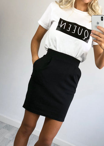 Babs Black High Waist Skirt