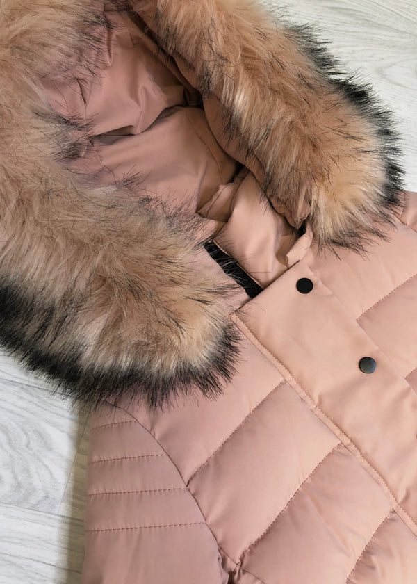 Jude Longline Padded Coat - Pink