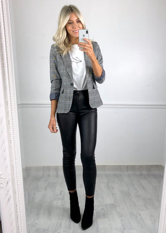 Rachel Check Blazer - Black and White