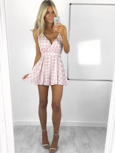 Carly Grid Check Playsuit