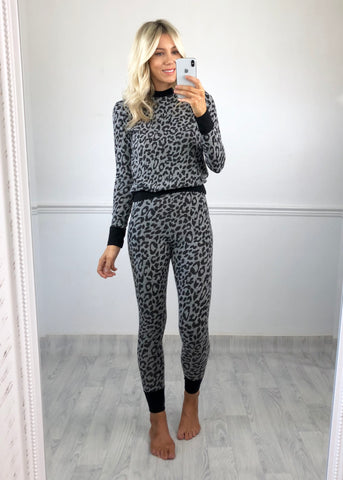 Tilly Leopard Loungewear - Grey