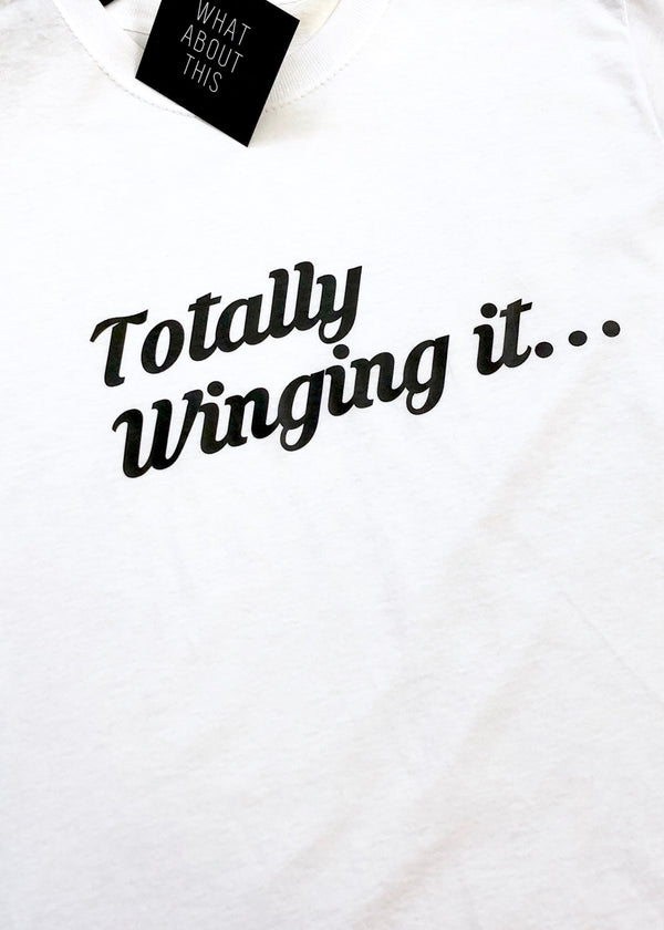 'Totally Winging It' Slogan T-Shirt - White