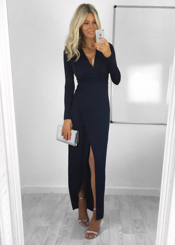 Iris Navy Wrap Maxi Dress