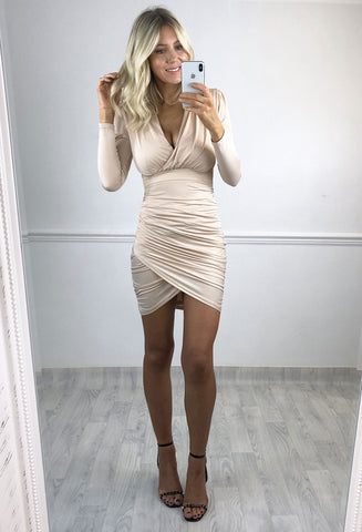 Nikki Ruched Wrap Mini Dress - Nude