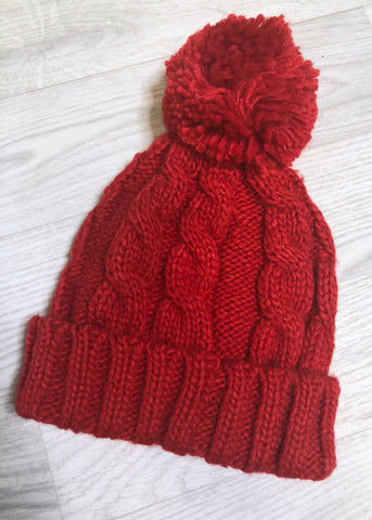 Jamie Cable Knit Pom Pom Hat - Red