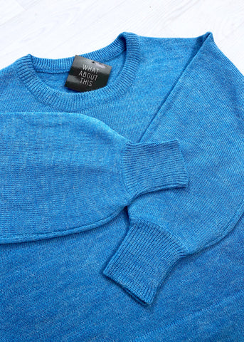 Jillian Blue Knitted Crew Neck Jumper