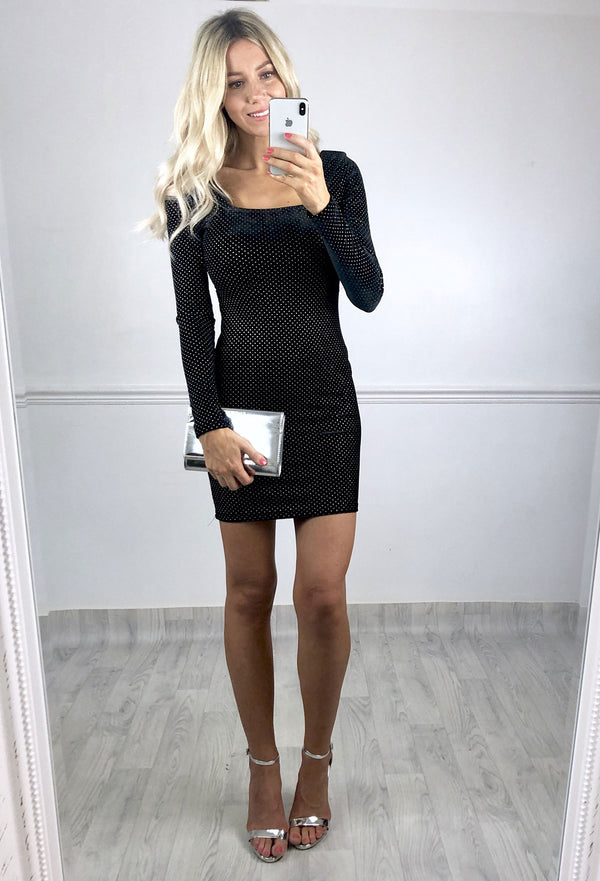 Jessie Black Velvet Spot Mini Dress