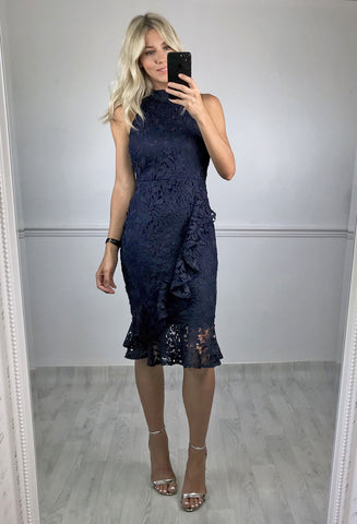 Josie High Neck Frill Hem Lace Midi - Navy