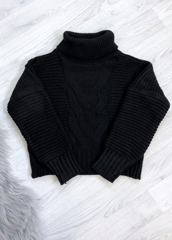 Kayla Chunky Ribbed Knit Jumper - Black