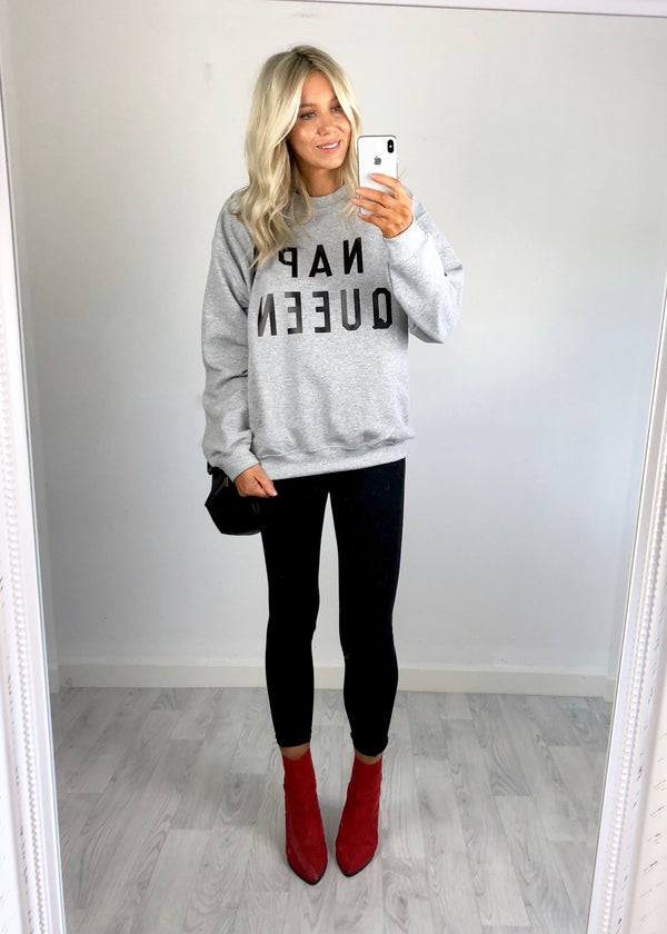 'NAP QUEEN' Slogan Sweatshirt - Grey