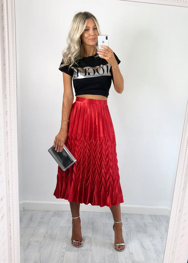 Bonnie Metallic Pleat Skirt - Red