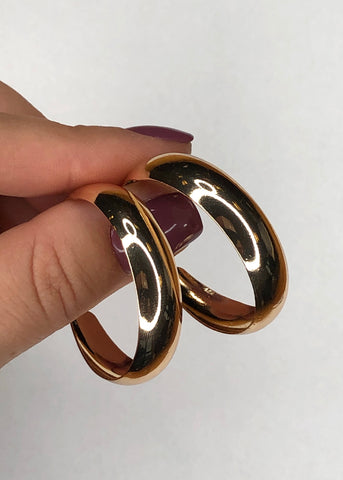 Wide Curved Gold Hoop Earrings