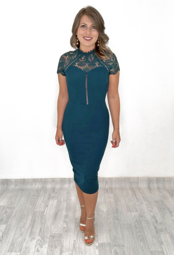 Christie Lace Detail Midi Dress - Green