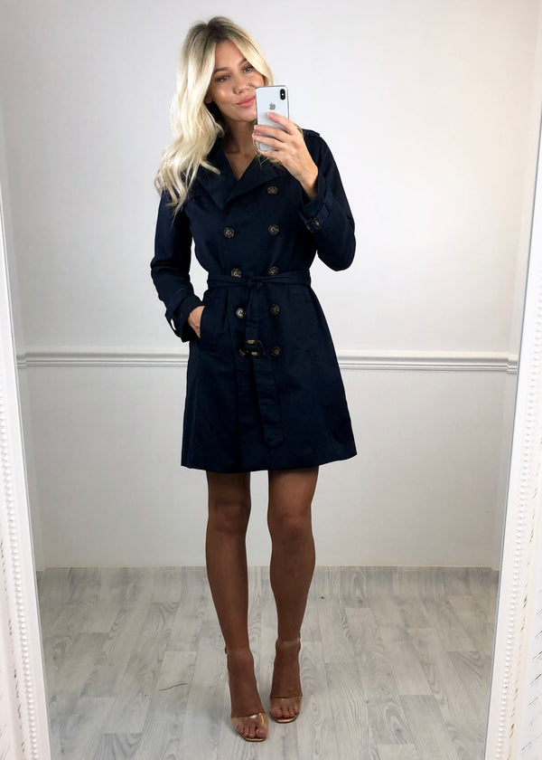 Gemma Double Breasted Mac Jacket - Navy