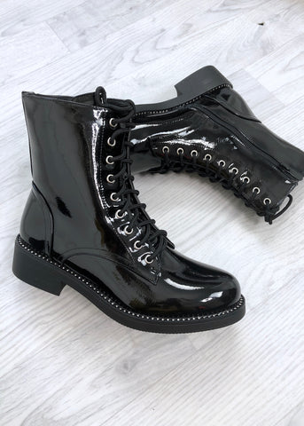 Sophia Lace-Up Patent Black Boots