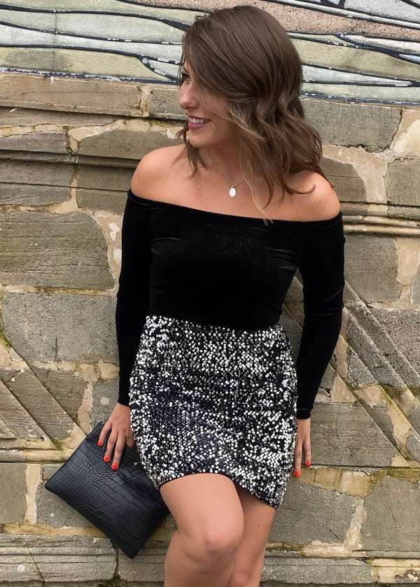 Aurora Silver Sequin Mini Skirt