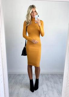 Erica Ribbed Midi Dress - Mustard