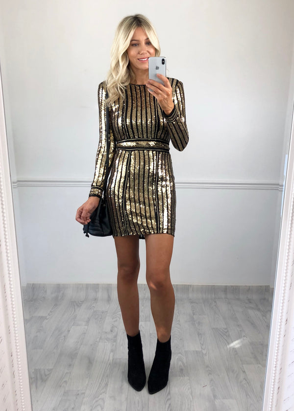 Yasmin Gold Sequin Bodycon Dress