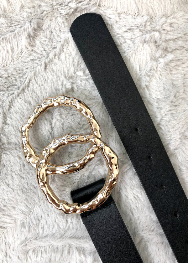 Double Circle Belt - Black and Gold