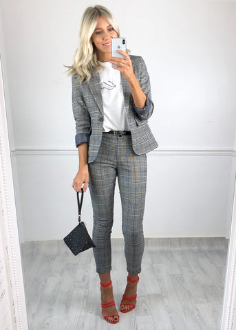 Rachel Check Trousers - Black and White