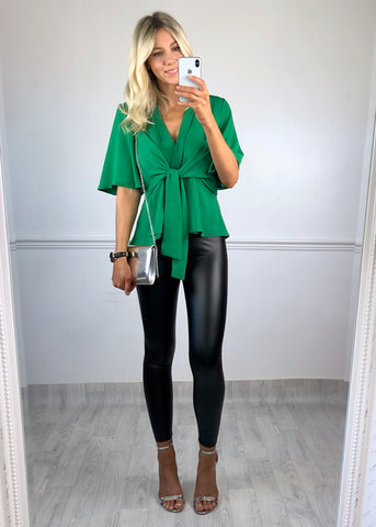 Hannah Flared Sleeve Top - Green