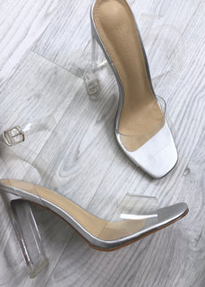 Pearl Clear Strap Heels - Silver