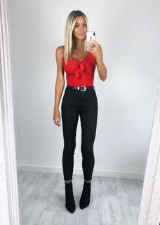 Zara Ribbed Tie Front Bodysuit - Red