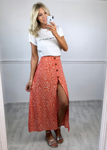 Kenya Palm Print Skirt