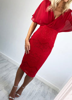 Emily Lace Midi Dress - Red